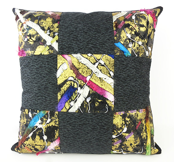 Fabric & Foil Collage Cushion