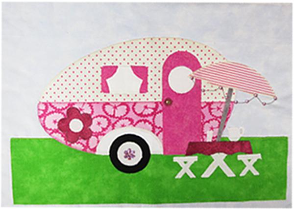 Campers Quilt Block - Pink
