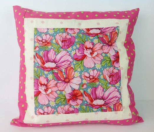 cushion-cover-pink-flowers, sewing, craft