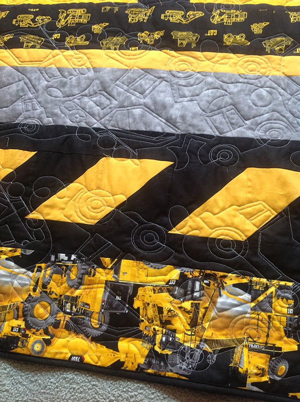 construction-quilt-front.caterpillar heavy hauler quilt panel, truck panel, quilting, craft, sewing