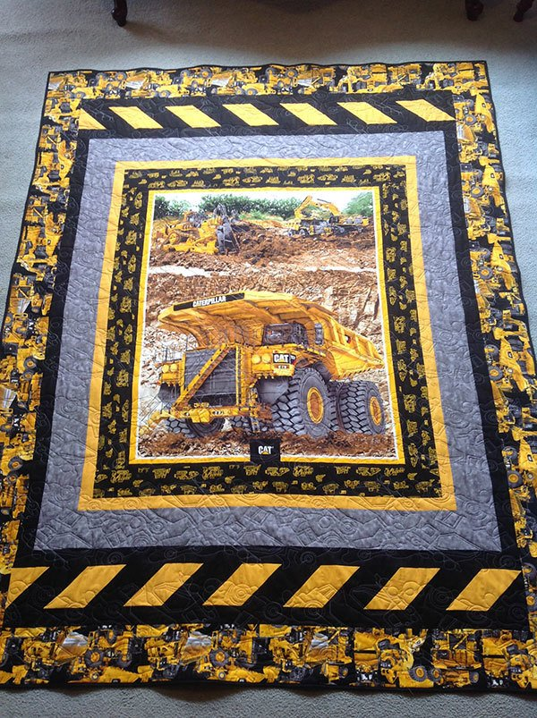 construction-quilt-front, caterpillar heavy hauler quilt, quilt panel, truck quilt panel, quilting, sewing, craft