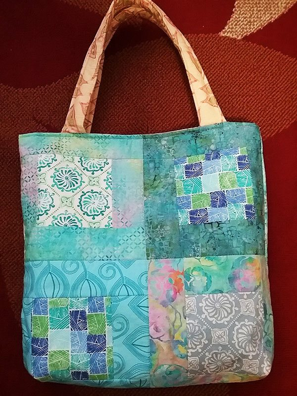 Jilly's-charm-square-bag,tote bag, quilting,craft, sewing