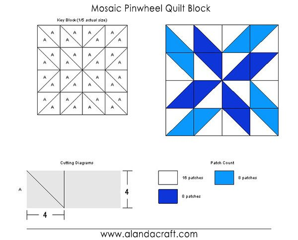 mosaic pinwheel block, tutorial, quilting blocks,