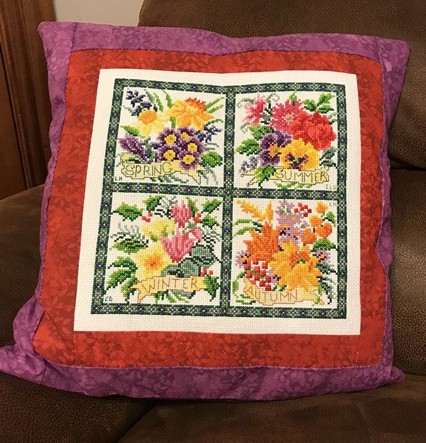 embroidered cushion cover, craft, sewing,