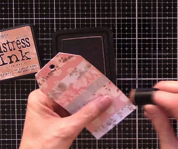 journal tags using distress ink